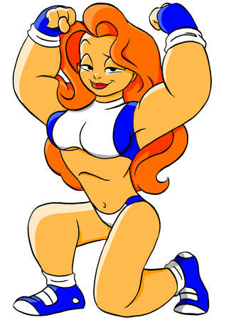 Illustration for caricature funny fitness power girl - Royalty Free Image