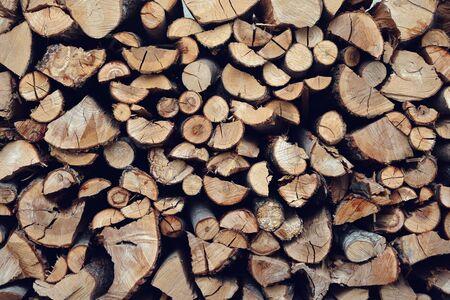 Photo pour pile of firewood close up background  - image libre de droit
