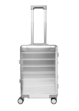 Photo pour aluminium suitcase isolated on white background, front view - image libre de droit
