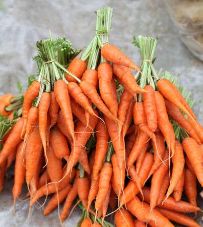 Fresh garden carrots on  market
