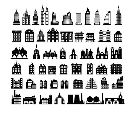 Various variants of houses on the white