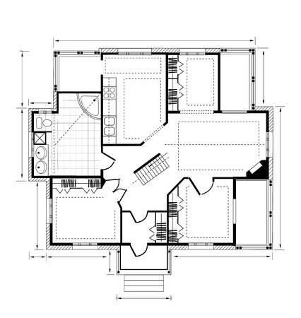 Plan a country house on a white background