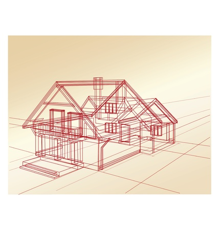 Plan a country house on a pink background