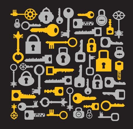 Silhouettes set of keys and locks on a black
