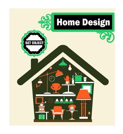 Schematic representation of the home with household items