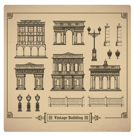 A set of vector images of urban retro buildings