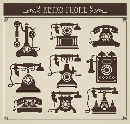 Photo for The set of vintage phones on a gray background - Royalty Free Image