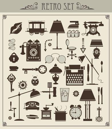 Illustration pour A set of isolated vintage objects - image libre de droit
