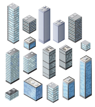 Set of tall buildings in shades of blue on a white background