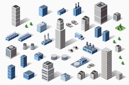 Foto de Set of industrial and residential urban industrial buildings, houses and buildings in perspective - Imagen libre de derechos