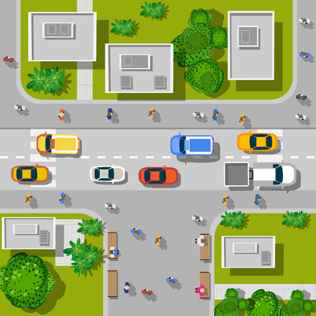 Illustration pour Top view of the city. Top view of urban crossroads with cars and houses. - image libre de droit
