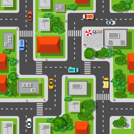 Illustration for Top view of the city seamless pattern of streets, roads, houses, and cars - Royalty Free Image
