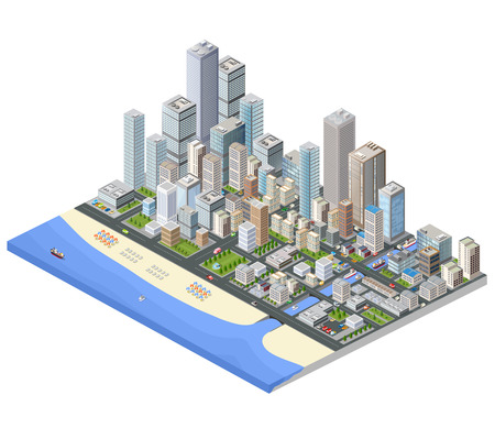 Illustration pour Isometric city. Skyscrapers, houses and streets in the metropolis isometric view. - image libre de droit