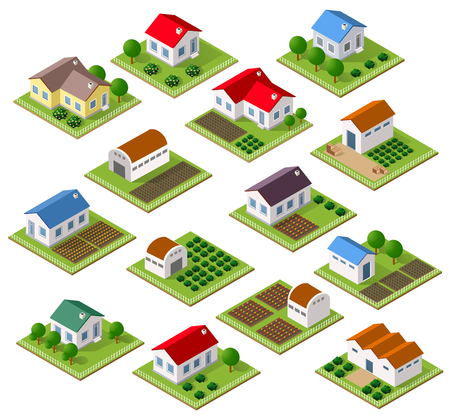 Illustration pour Set of townhouses and rural houses with trees in an isometric view and a garden - image libre de droit