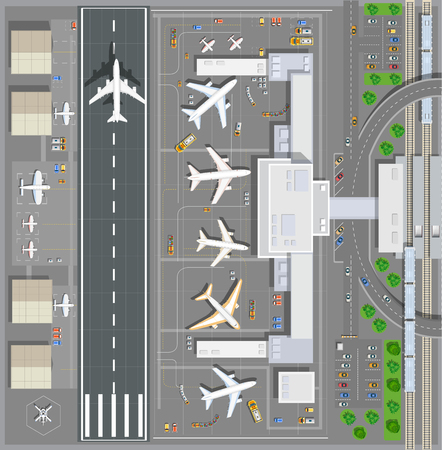 Ilustración de Airport passenger terminal top view. The runway of the aircraft. Buildings hangar for airplanes and helicopter landing pad. Railway station with train and parking with cars. Stock vector illustration - Imagen libre de derechos