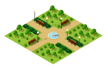Illustration pour Isometric metropolis city park with streets and trees. Urban landscape top view - image libre de droit