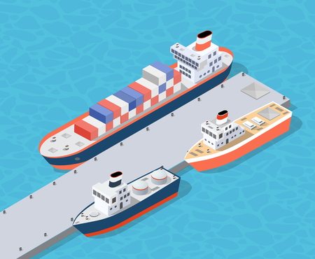 Ilustración de Isometric City industrial dock port with container cargo industry freight and transport boat naval ships nautical on the sea for terminal distribution shipment illustration. Set of ship transportation - Imagen libre de derechos