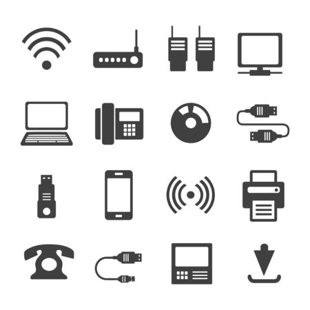 Illustration pour Icons media Communications. A set of internet icons with different Business objects. Computer, telephone, communication, and communication and presentation of business ideas. - image libre de droit