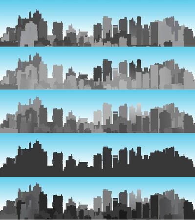 Illustration for Banner city set landscape of silhouettes of buildings and houses against the backdrop of a color sky - Royalty Free Image