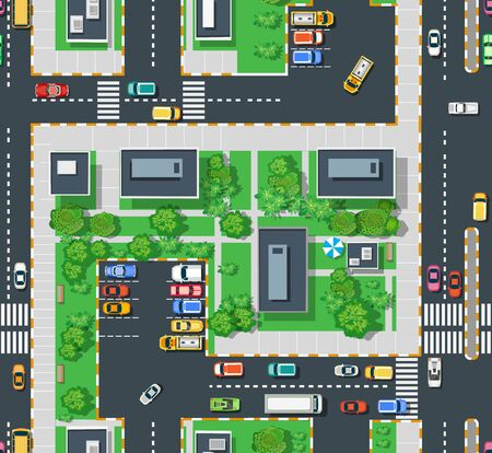 Illustration for Urban top view area with building trees lawns - Royalty Free Image