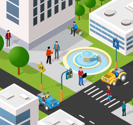 Illustration pour Isometric 3D illustration of the city quarter with houses, streets, people, cars. Stock illustration for the design and gaming industry. - image libre de droit