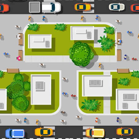Illustration for Top view city seamless - Royalty Free Image