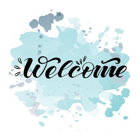 Illustration pour Vector text welcome on watercolor background - image libre de droit
