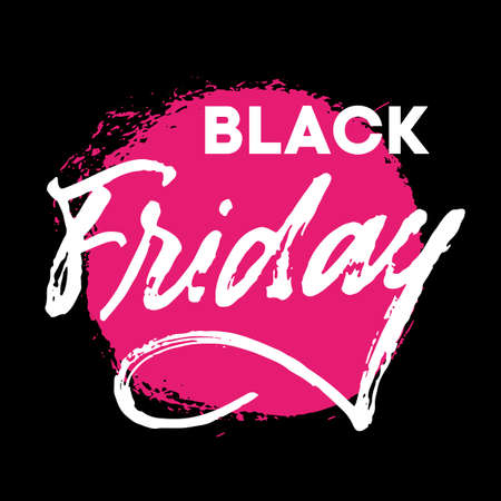 Illustration pour Black Friday hand written lettering sign withreal brush texture. White letters on black background with neon pink textured stain. Advertising concept for sale season and discount banner. Promotional text for social media, banners, posters, tags, stickers or fliers. - image libre de droit