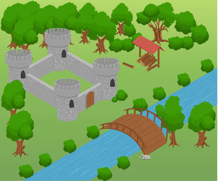 Isometric for game . Elements for game. strategy bridge castle.のイラスト素材