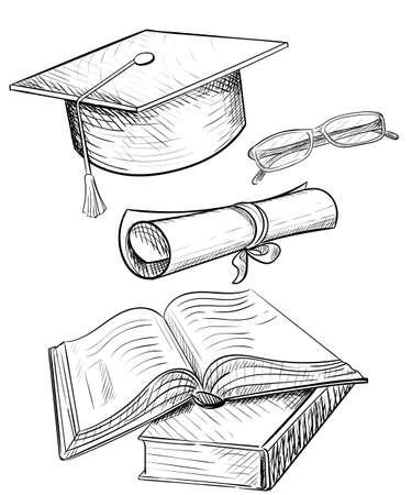 Congratulations on graduation, graduate cap and glasses.