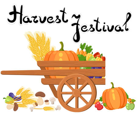 Harvest festival. Harvest fruits and vegetables. Autumn Collection of elements for your designのイラスト素材