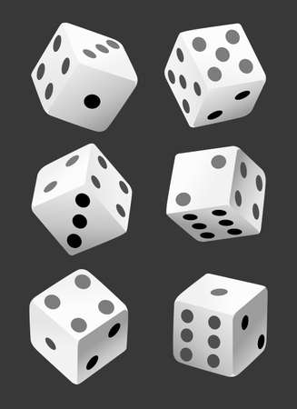 Vector illustration of white dice with double six roll. No gradients or effects. Web site page and mobile app design vector element