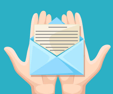 Email message concept. New, incoming message, sms. Hand holding envelope, letter. Delivery of messages, sms. Mail notification, sending messages. Get mail chat message Coming messages