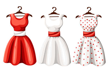 Illustration pour Set of retro pinup cute woman dresses. Short and long elegant black, red and white color polka dot design lady dress collection. Vector art image illustration, isolated on background. - image libre de droit