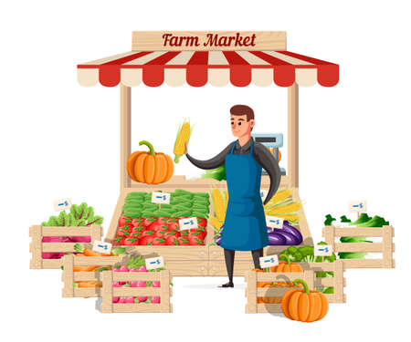 Illustration pour Farmer vegetable seller at the counter organic food farm. Street seller with stall with vegetable. Vector illustration isolated on white background. Website page and mobile app design. - image libre de droit