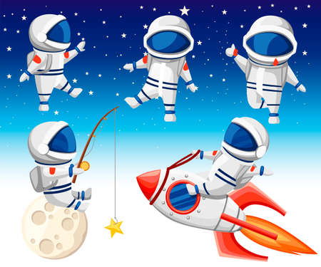 Illustration pour Cute astronaut collection. Astronaut sits on rocket, astronaut sits on moon and fishing and three dancing astronauts. Cartoon design style. Flat vector illustration on sky background. - image libre de droit