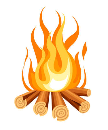 Burning bonfire with wood. Vector cartoon style illustration of bonfire. Isolated on white background.
