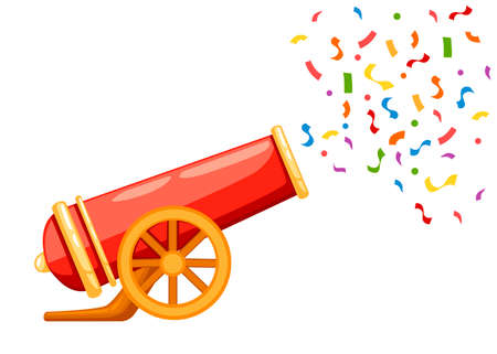 Illustration pour Ancient red cannon shots confetti. Circus cannon. Flat vector illustrator isolated on white background. - image libre de droit