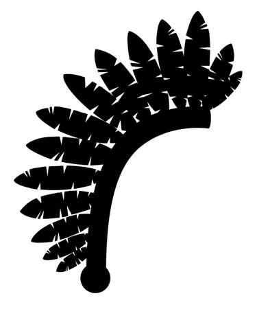 Illustration for Black silhouette. Indian headdress. Warbonnet icon. Headdress with feathers. Flat vector illustration isolated on white background. - Royalty Free Image