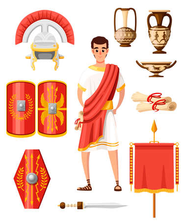 Illustration pour Collection of ancient roman icons. Flat vector style. Roman clothes, armor, weapon and houseware. Cartoon character design. Illustration isolated on white background. - image libre de droit