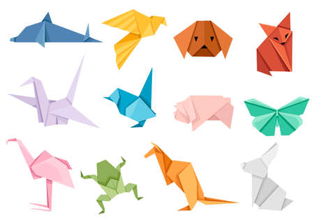 Ilustración de Origami japanese animal set. Modern hobby. Flat vector illustration isolated on white background. Colorful paper animals, low polygonal design. - Imagen libre de derechos