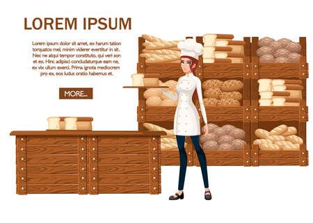 Illustration pour Women bakery chef - image libre de droit