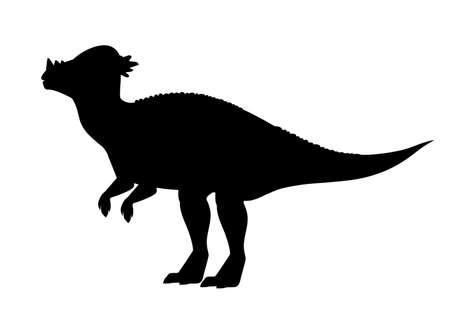 Illustration pour Black silhouette Pachycephalosaurus. - image libre de droit