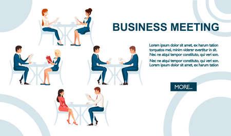 Illustration pour Business meeting concept. Man and women sit on wooden chair and talking. - image libre de droit