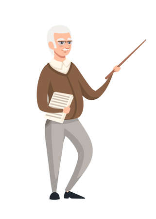 Senior teacher, professor standing in front, and holds pointer with educational material on paper. Cartoon character design. Flat vector illustration isolated on white background.