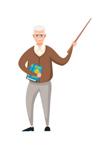 Senior teacher, professor standing in front, and holds pointer with book. Cartoon character design. Flat vector illustration isolated on white background.
