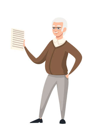 Senior teacher, professor standing in front, and hold the educational material on paper. Cartoon character design. Flat vector illustration isolated on white background.