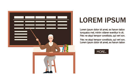 Senior teacher, professor sits by the table. Pointer with blackboard. Books and list on wooden table. Cartoon character design. Flat vector illustration on white background.