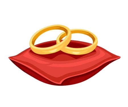 Photo pour Golden weddings rings on red velvet pillow. Golden jewelry. Flat vector illustration isolated on white background. - image libre de droit
