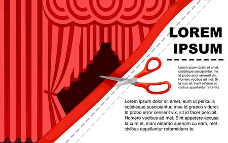 Illustration pour Collection of luxury red silk curtains and draperies with red scissors. - image libre de droit